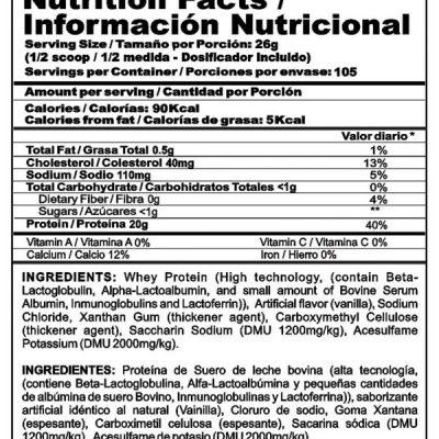 BIPRO 6 LB TABLA NUTRICIONAL