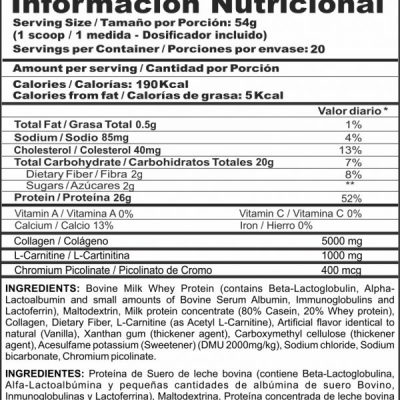BIPRO LITE 2 LB TABLA NUTRICIONAL