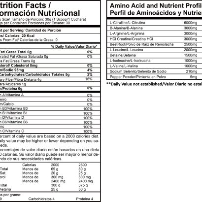 intence nite tabla nutricional