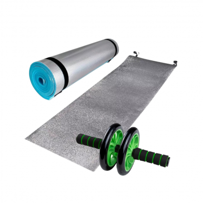 tapete de yoga y rueda abdominal